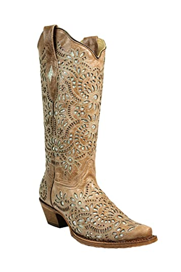 cf710502c05 Corral Women's 13-inch Brown Glitter Inlay & Embroidery Snip Toe Pull-On  Cowboy Boots - Sizes 5-12 B