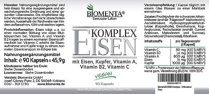 Biomenta Eisen COMPLEJO - con Eisen, Cobre, Vitamina A, vitamina B2, Vitamina C - 90 Cápsulas - 3 Meses de curación: Amazon.es: Salud y cuidado personal