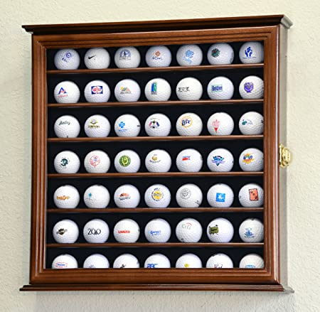 49 Golf Ball Display Case Cabinet Rack Holder w UV Protection -Walnut Finished
