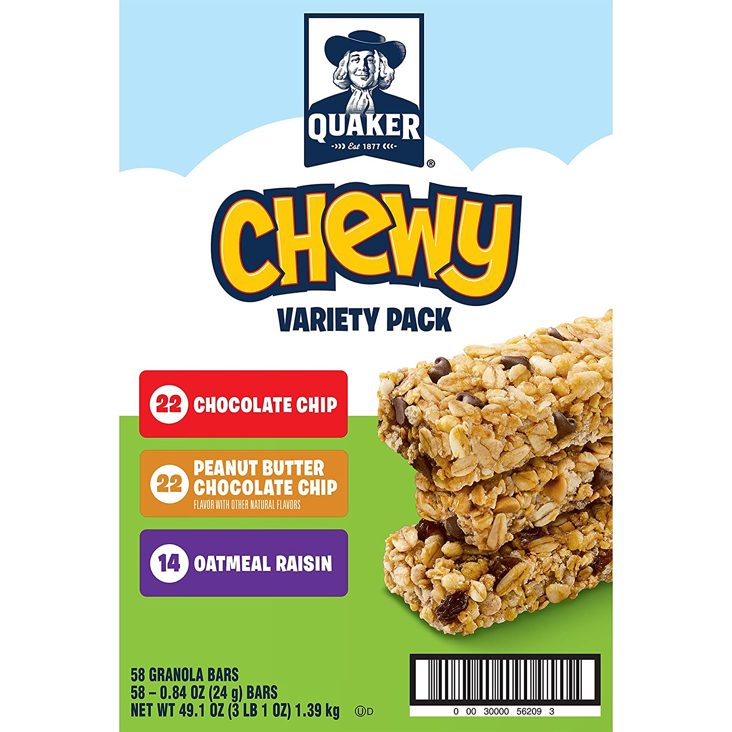 Quaker Chewy Granola Bars Variety Pack 58 Count Amazon Grocery Gourmet Food