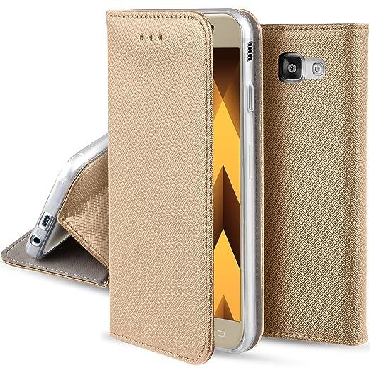 50 opinioni per Cover Samsung Galaxy A5 2017 Oro- Custodia a libro Flip Smart magnetica de