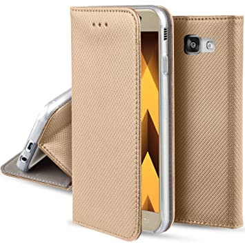 check out c9935 21ff1 Moozy case Flip cover for Samsung A5 2017, Gold - Smart Magnetic Flip case  with folding stand