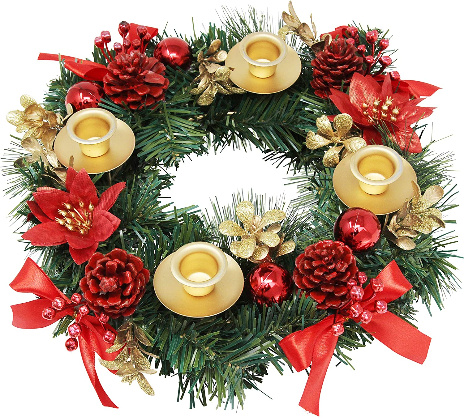 Advent Candle and X-mas Candles Decorations Advent Calendar Season Decoration Christmas Advent Wreath Red Berry Advent Season Centerpiece D/écor
