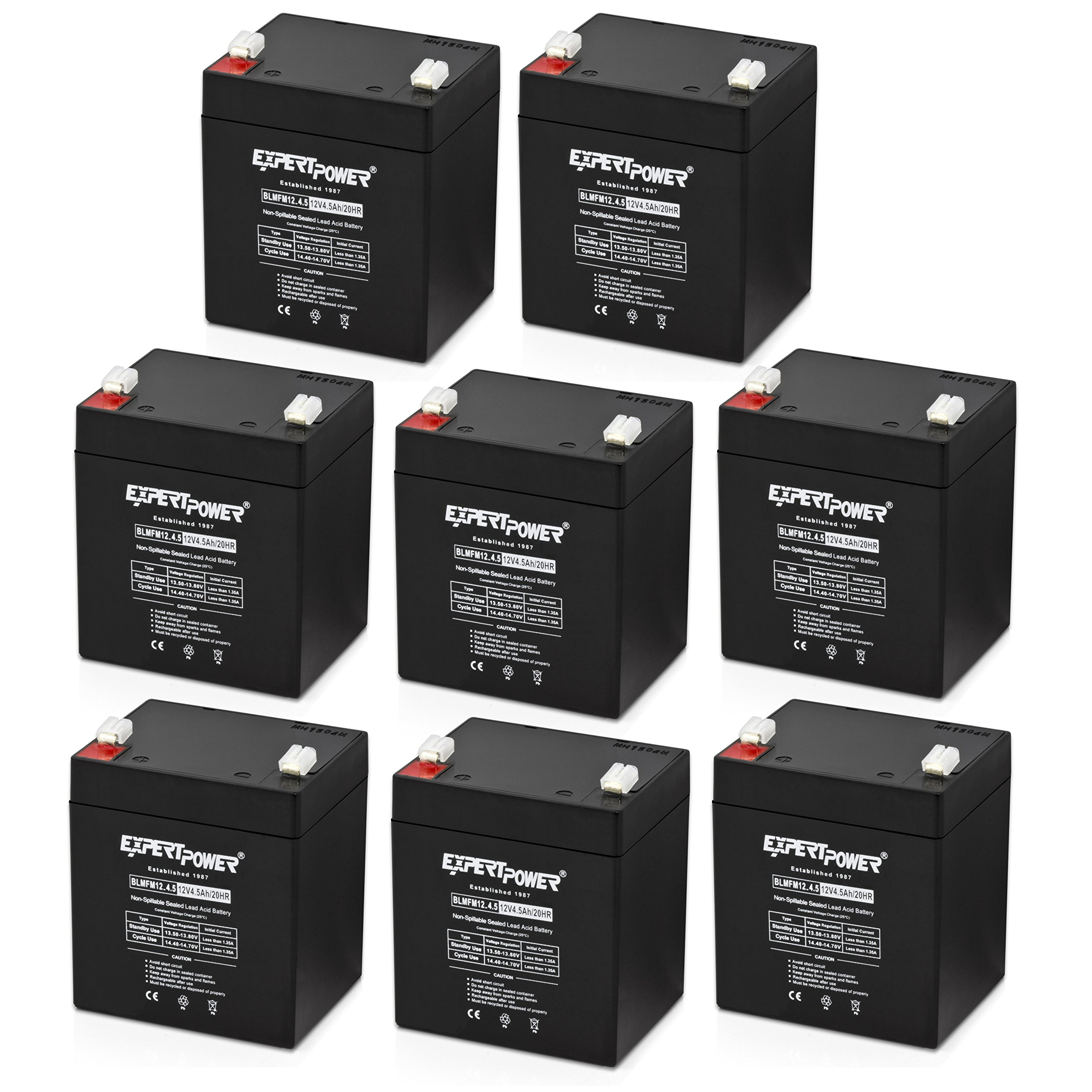 (8 Pack) ExpertPower EXP1245 12V 4.5 Amp Rechargeable Battery for Security Systems by ExpertPower