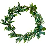Eucalyptus Wreath with Gold Floral Hoop Ring for Front Door, Home Design, Kitchen Décor, Table Centerpiece, and Wedding Decoration - 22 inch