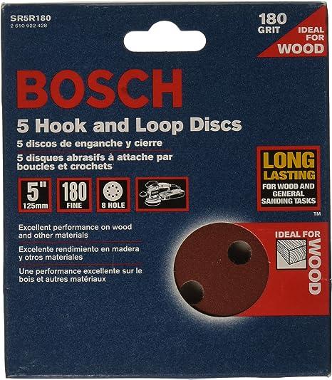 Red Bosch SR5R080 Random Orbit Sander Hook and Loop 8 Hole Disc 5-Inch 80 Grit Sand Paper 5-Pack