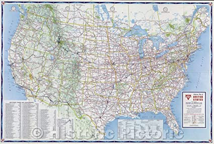 Amazon.com: Historic Map | Conoco Highway Map of United ...