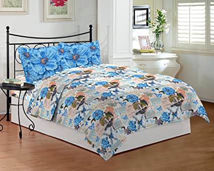 Bombay Dyeing Coral Vine   100% Cotton   Double Bedsheet DSN 07   SKY