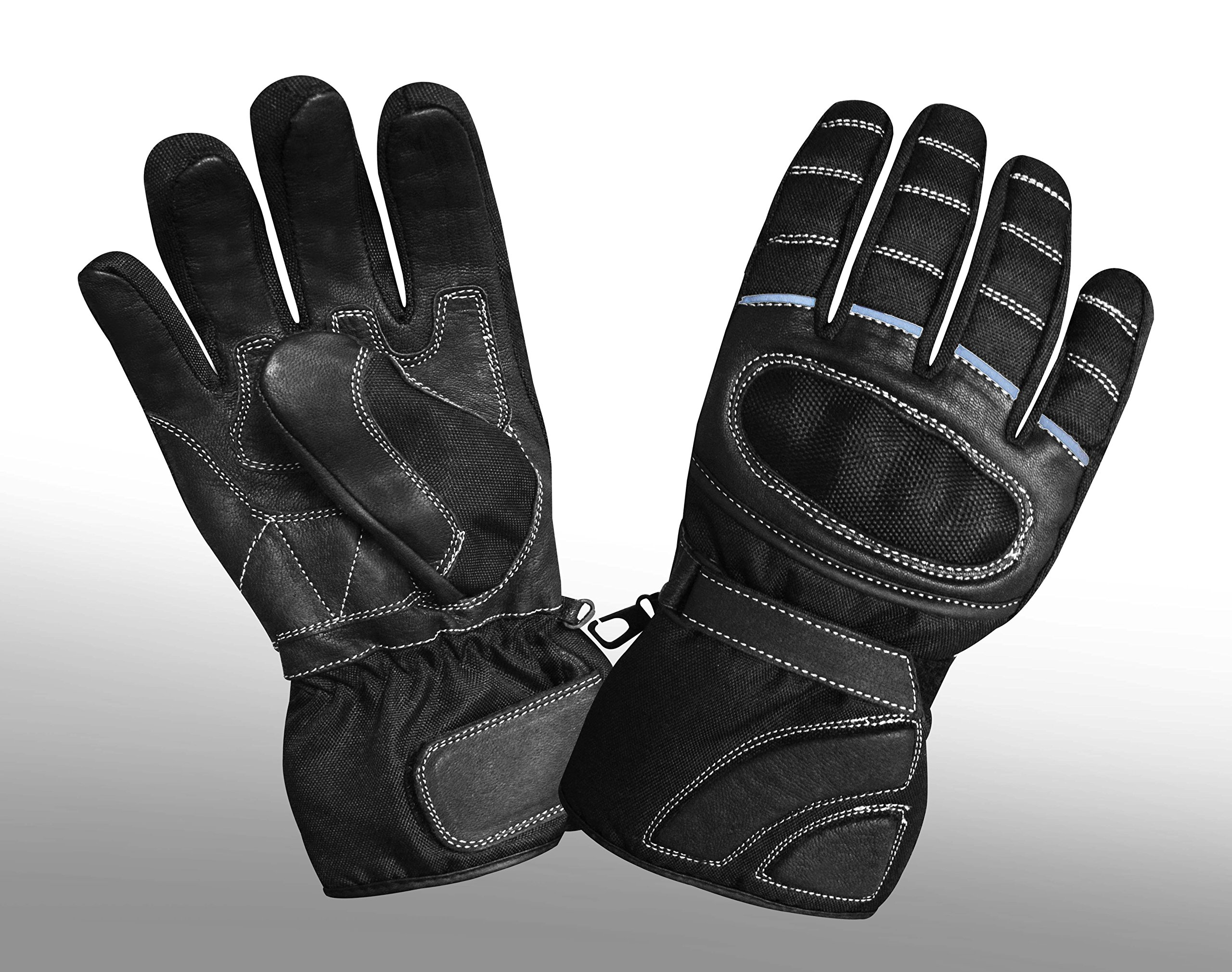 Prime Sports Men's Real Leather & Cordura Motorcycle Winter Thinsulate Carbon Fiber Waterproof Gloves (Black, X-Large)