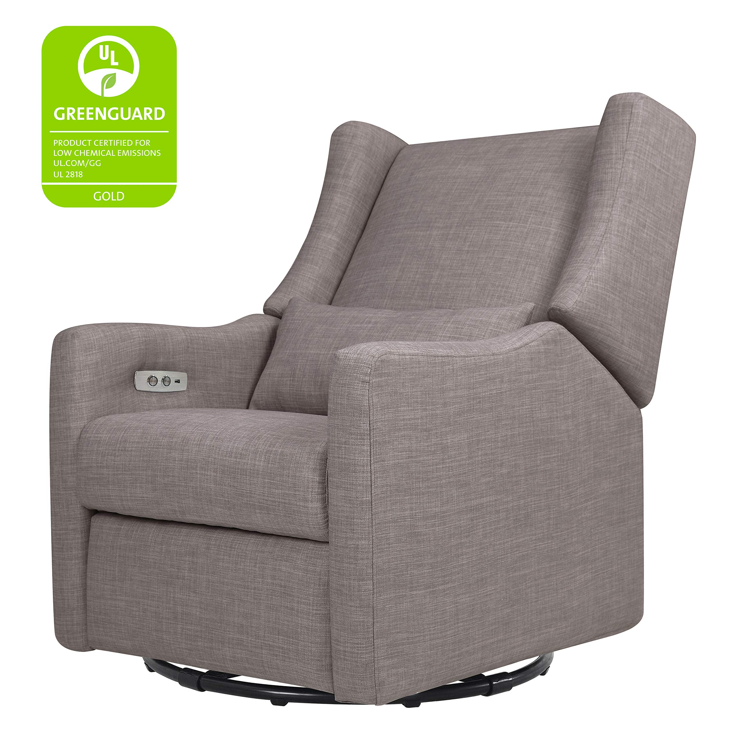 Babyletto Kiwi Electronic Power Recliner and Swivel Glider with USB Port, Grey Tweed by Babyletto