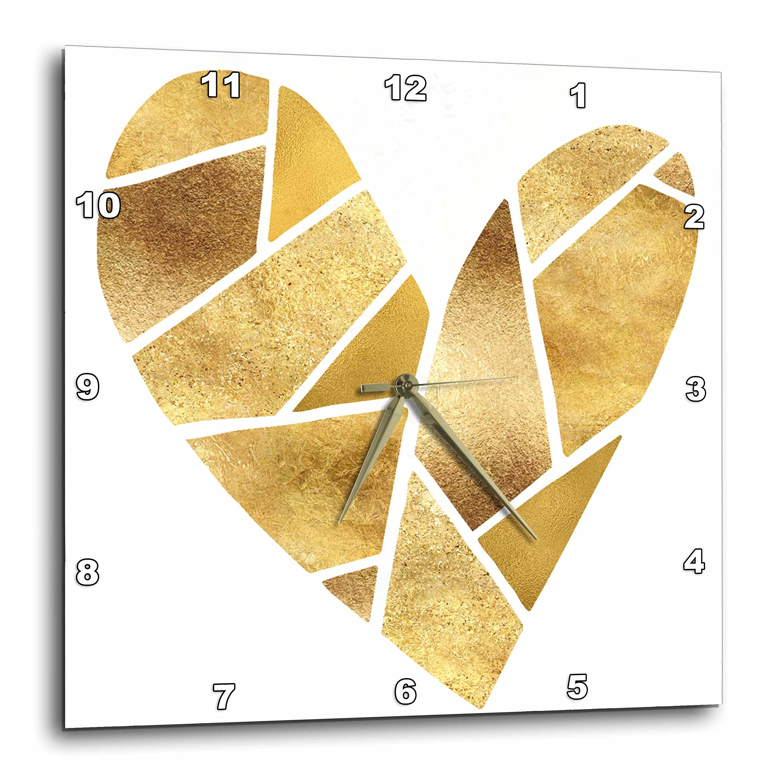 3dRose PS Glam - Gold Pieces Glitz Glam Heart - 10x10 Wall Clock (dpp_280761_1)