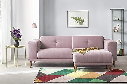 pas mal 51017 001ac Bobochic LUNA Canapé de 3 places avec Pouf Rose Poudré 225 x 93 x 77 cm