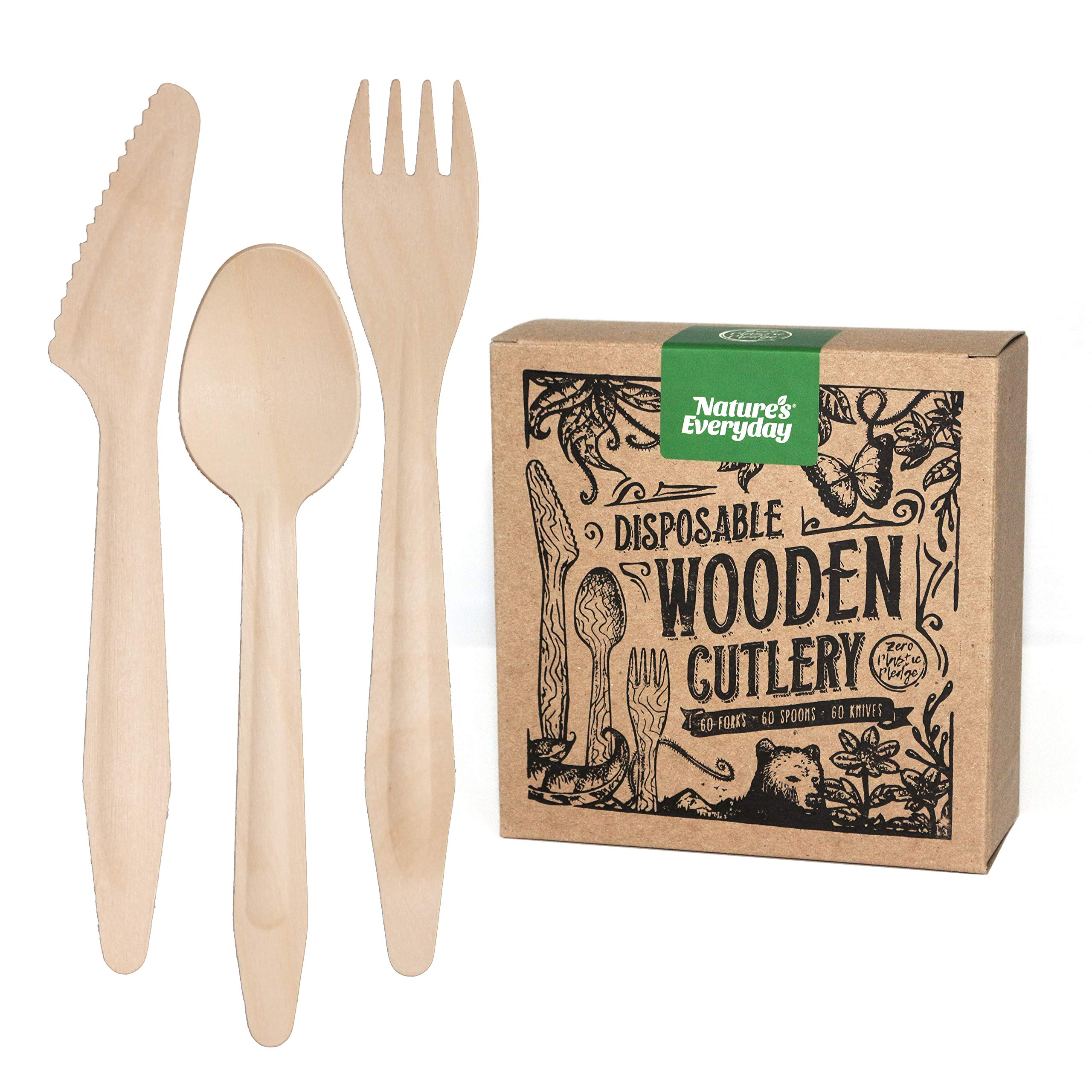 Large Full-Size Disposable Wooden Cutlery Set | 180 Extra Strong Deluxe Pieces (60 Forks, 60 Spoons, 60 Knives) in Plastic-Free Box | All-Natural, Eco-Friendly, Biodegradable, Compostable Birch Wood