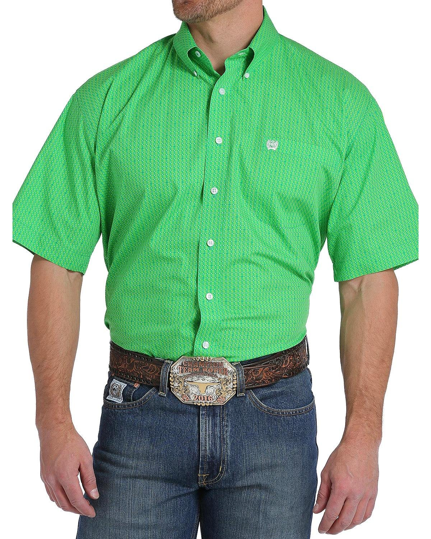 Cinch Men's Classic Fit Short Sleeve Button One Open Pocket Print Shirt, Green Monkey, L