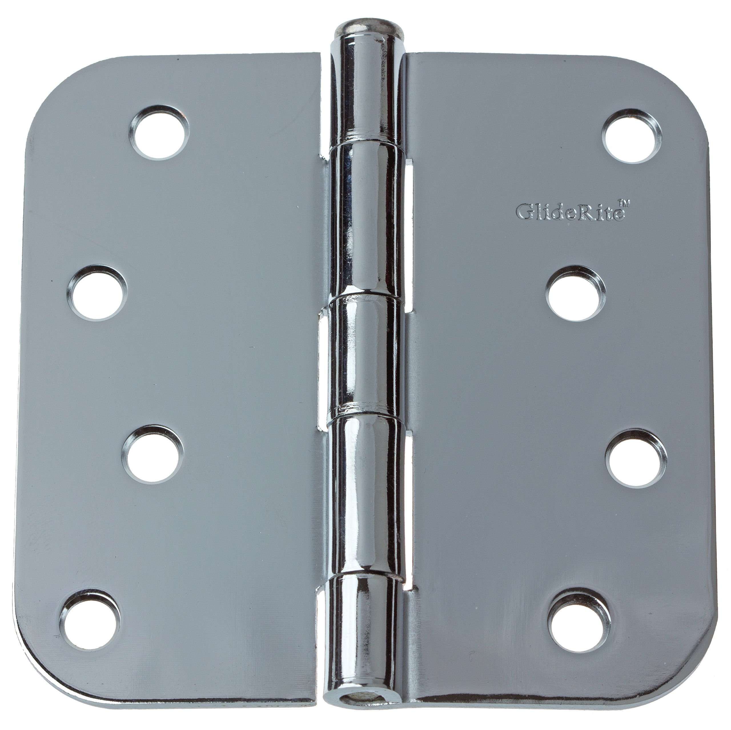 GlideRite Hardware 4058-PC-100 4 inch steel Door Hinges 0.625 inch Radius Polished Chrome Finish 100 Pack