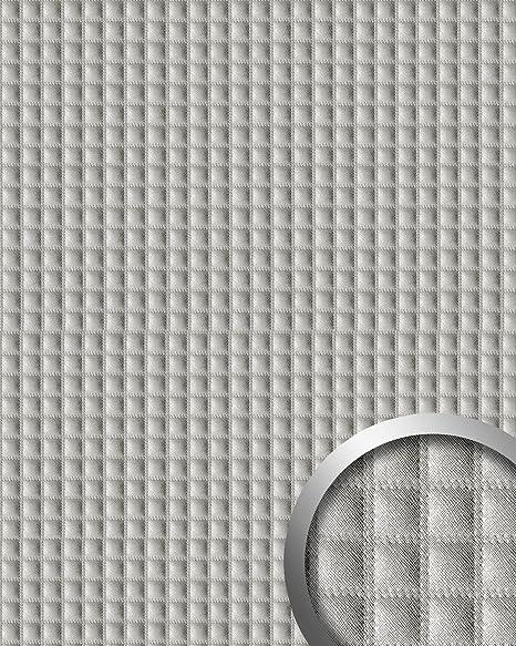 Panel decorativo autoadhesivo acolchado cuadrados WallFace 16422 QUADRO Pespunte imitada aspecto tela argénteo 2,60