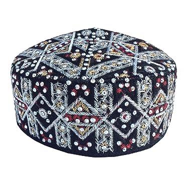 84e474ee44108 Kufi Namaz Topi Muslim Caps Hand Embroidered Stoned Islamic Men s Koofi Hat  (Multi-color