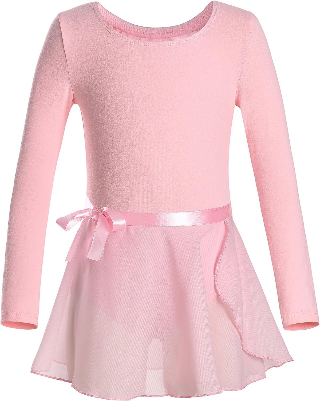 DANSHOW Girls Team Basic Long Sleeve Leotard with Skirt Kid Dance Ballet Tutu Dress