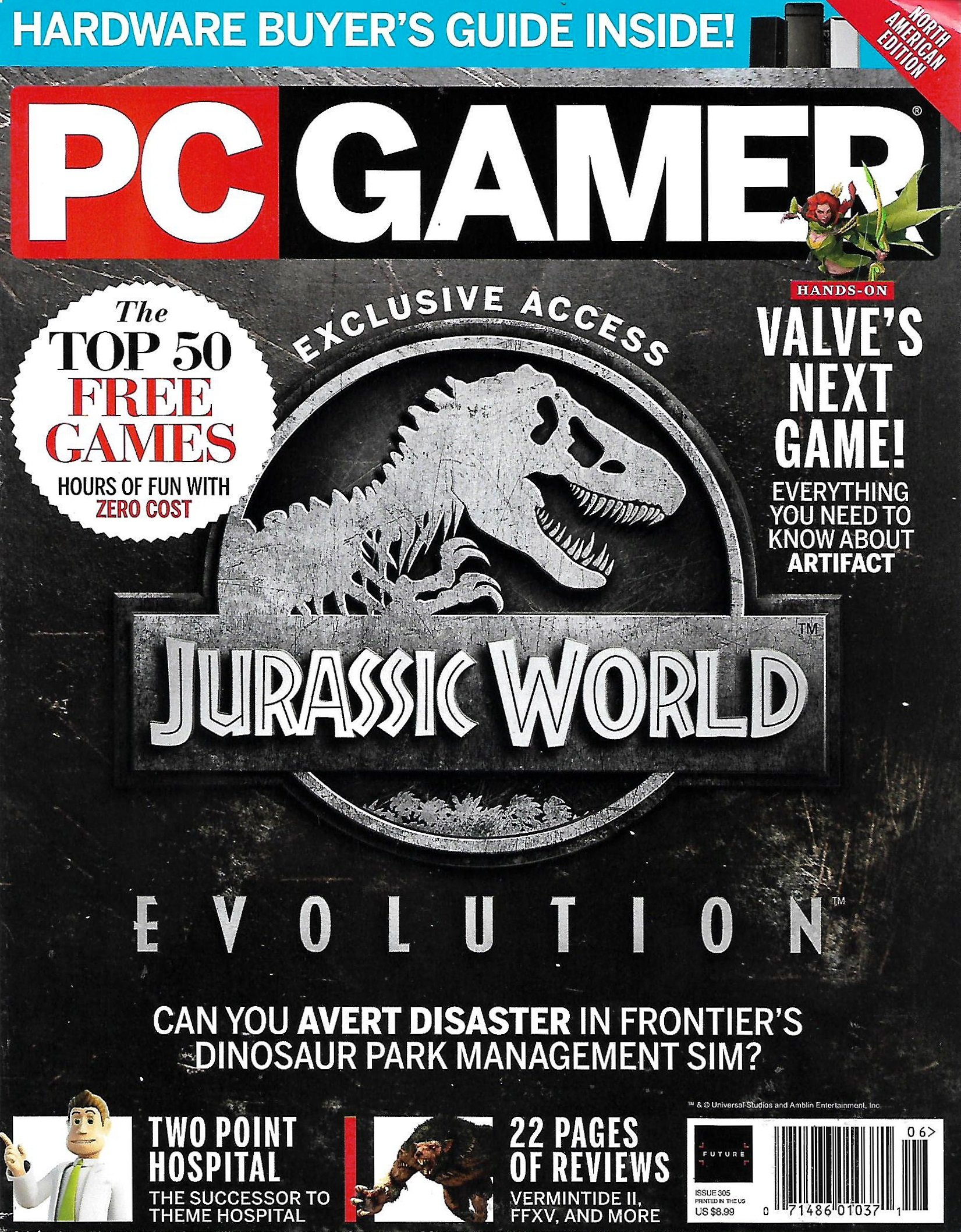 PC GAMER Magazine June 2018 JURASSIC WORLD EVOLUTION, Top 50