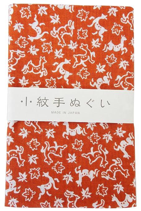 """Toalla tradicional japonesa """"Tenugui pequeño patrón Ciervo Otoño hojas"""