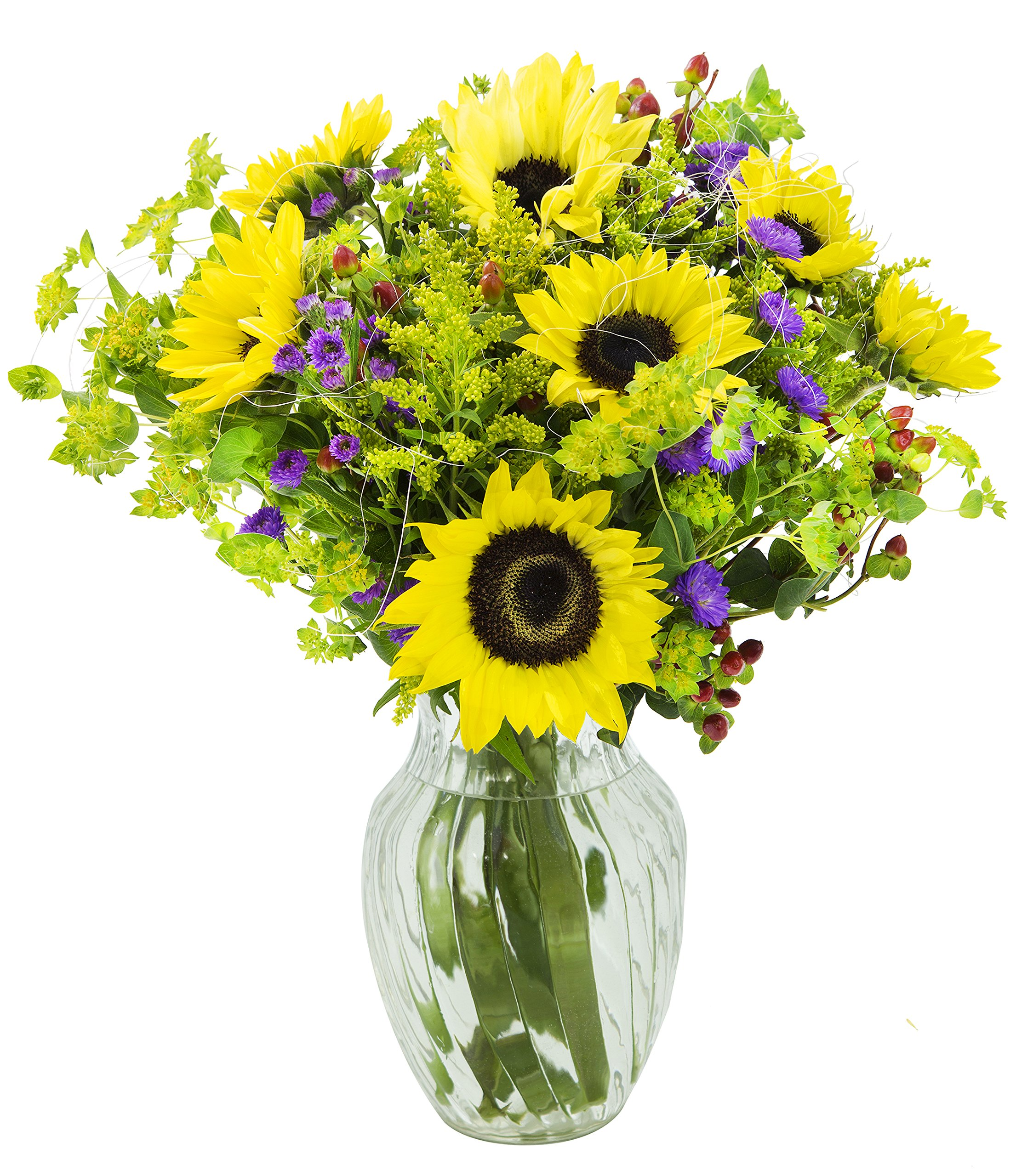 Spring Bloom Sunflower Mixed Bouquet with Free Vase Included