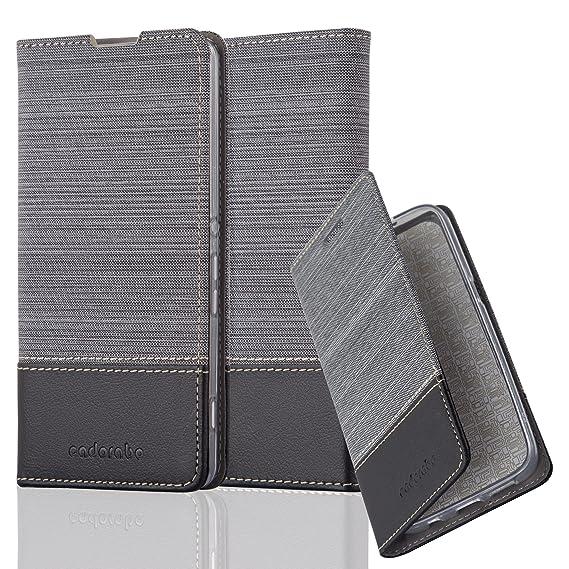 Cadorabo Hülle für Sony Xperia XA - Hülle in GRAU SCHWARZ – Handyhülle mit Standfunktion und Kartenfach im Stoff Design - Cas