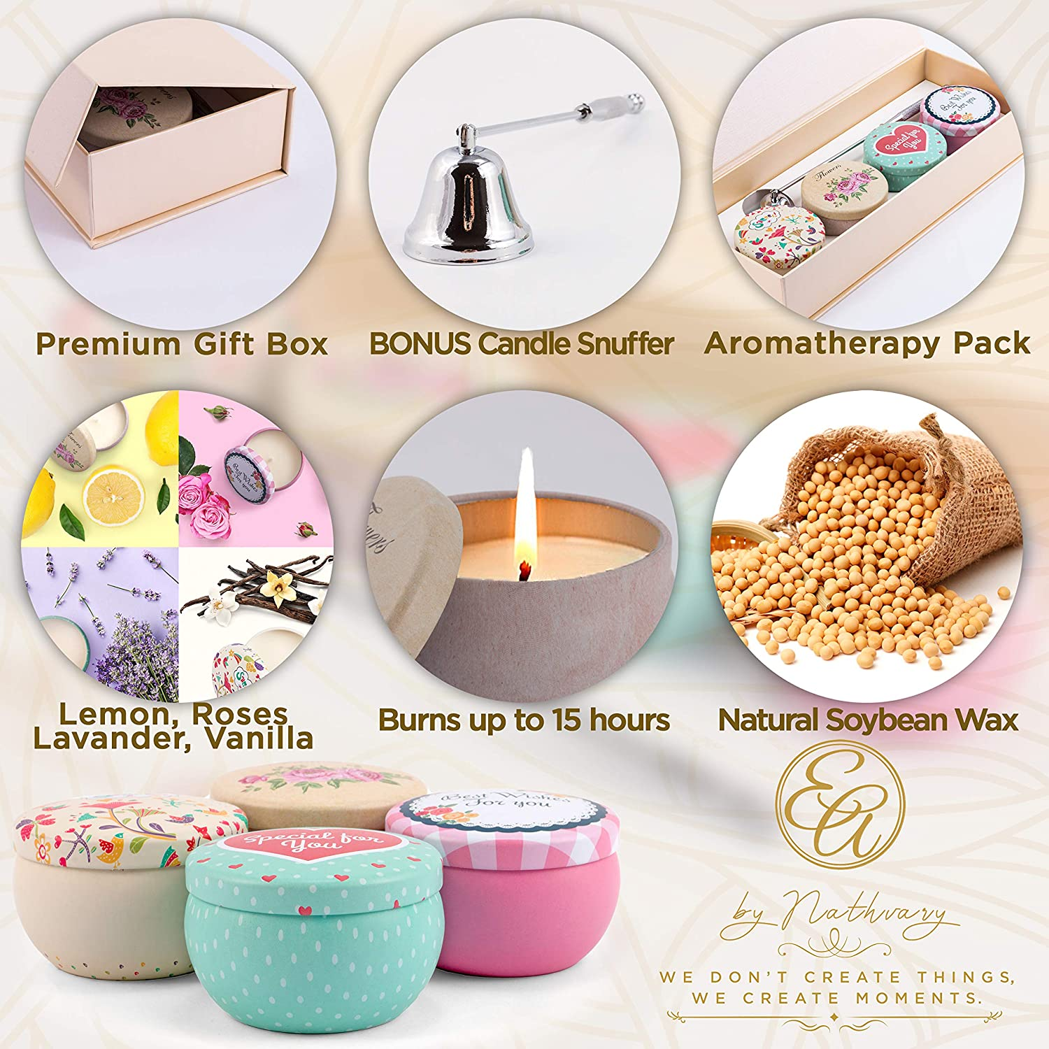 10pk PINK CHAMPAGNE /& EXOTIC FRUITS Natural TEA LIGHT CANDLES 60 hrs//pack GIFTS