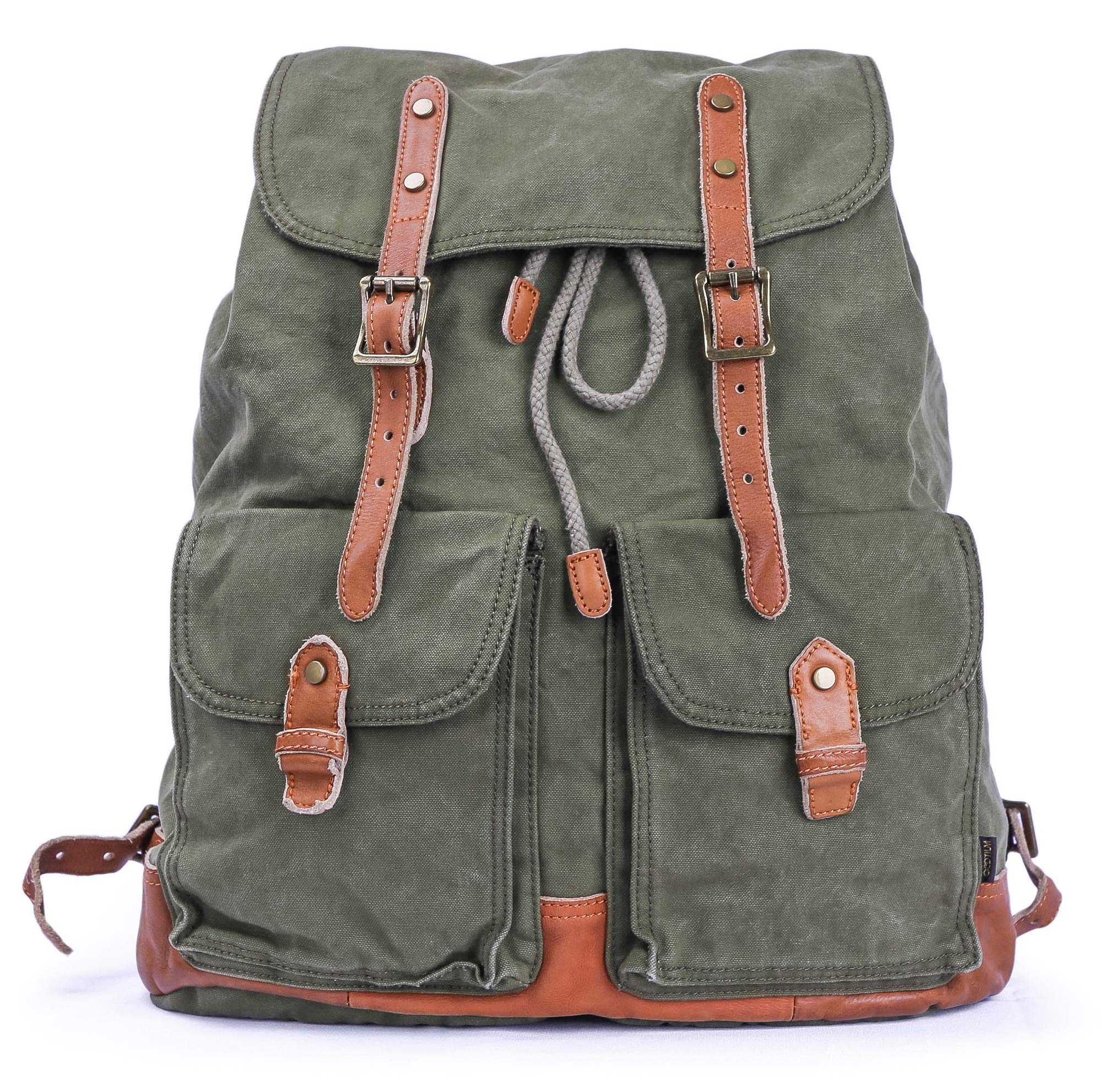 Gootium Specially Washed Vintage Canvas Backpack Rucksack, Green