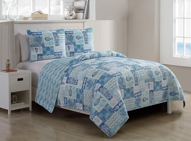 Wrinkle Resistant Super Soft Quilt Set Blue. Hypoallergenic Bed Set VCNY Home Patchwork Sealife Polyester 3 Piece Quilt Set King
