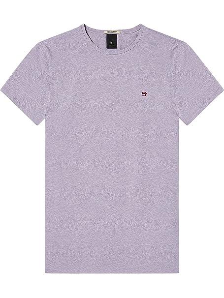 Scotch & Soda Classic Crewneck tee with Hem Artwork, Camiseta para Hombre