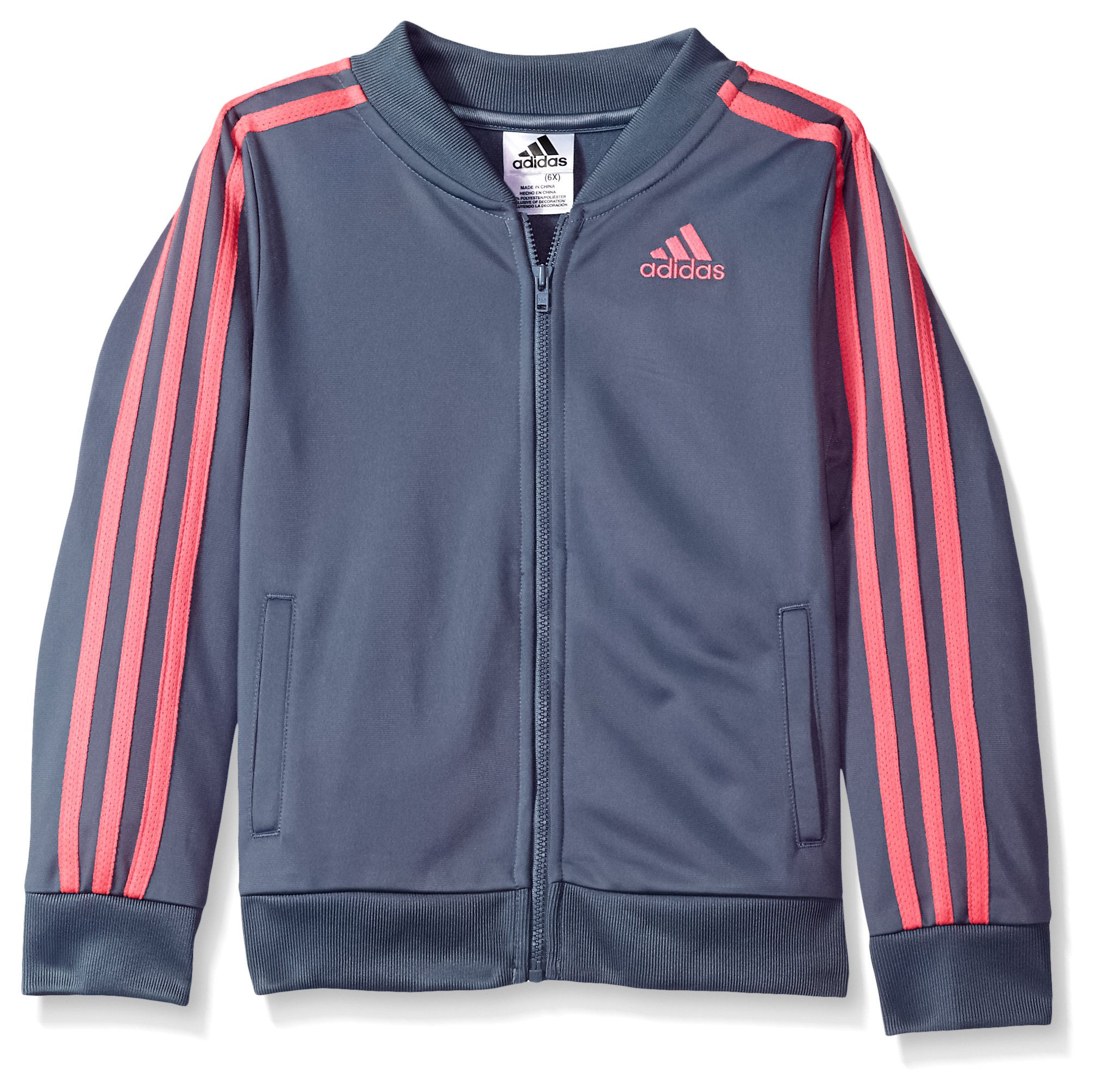 adidas Girls' Big Tricot Bomber Track Jacket, Raw Steel Adi, Small by adidas