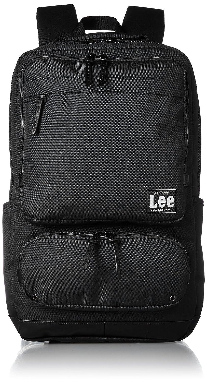 [リー] リュック レインカバー付き レザー調合皮使用 軽量多機能手付き(PC対応) スクエア型 320-4250 B01N4C5IOI ブラック ブラック