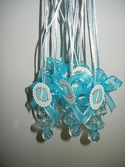 Amazon.com: Baby Shower Party Azul Huella Chupete collar ...