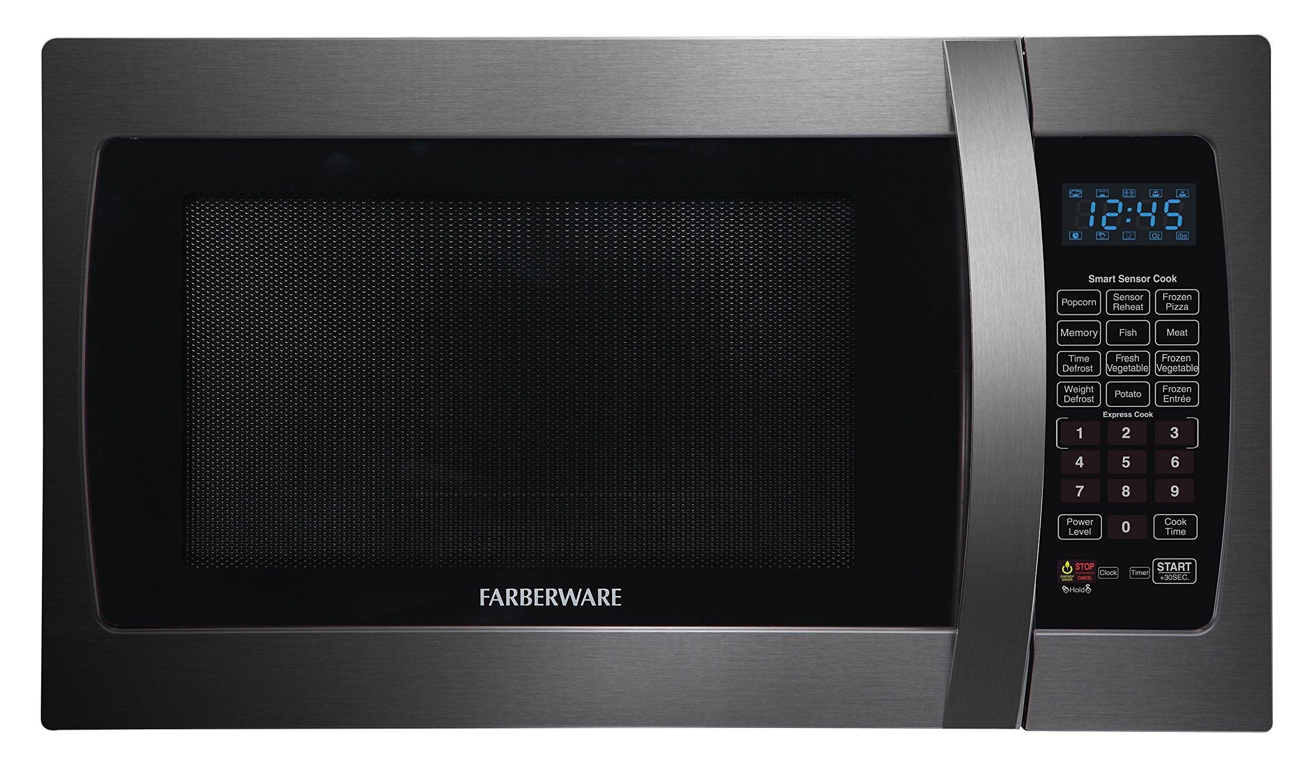 Farberware Black FMO13AHTBSE 1.3-Cubic-Foot 1100-Watt Microwave Oven with Smart Sensor Cooking, Black Stainless Steel