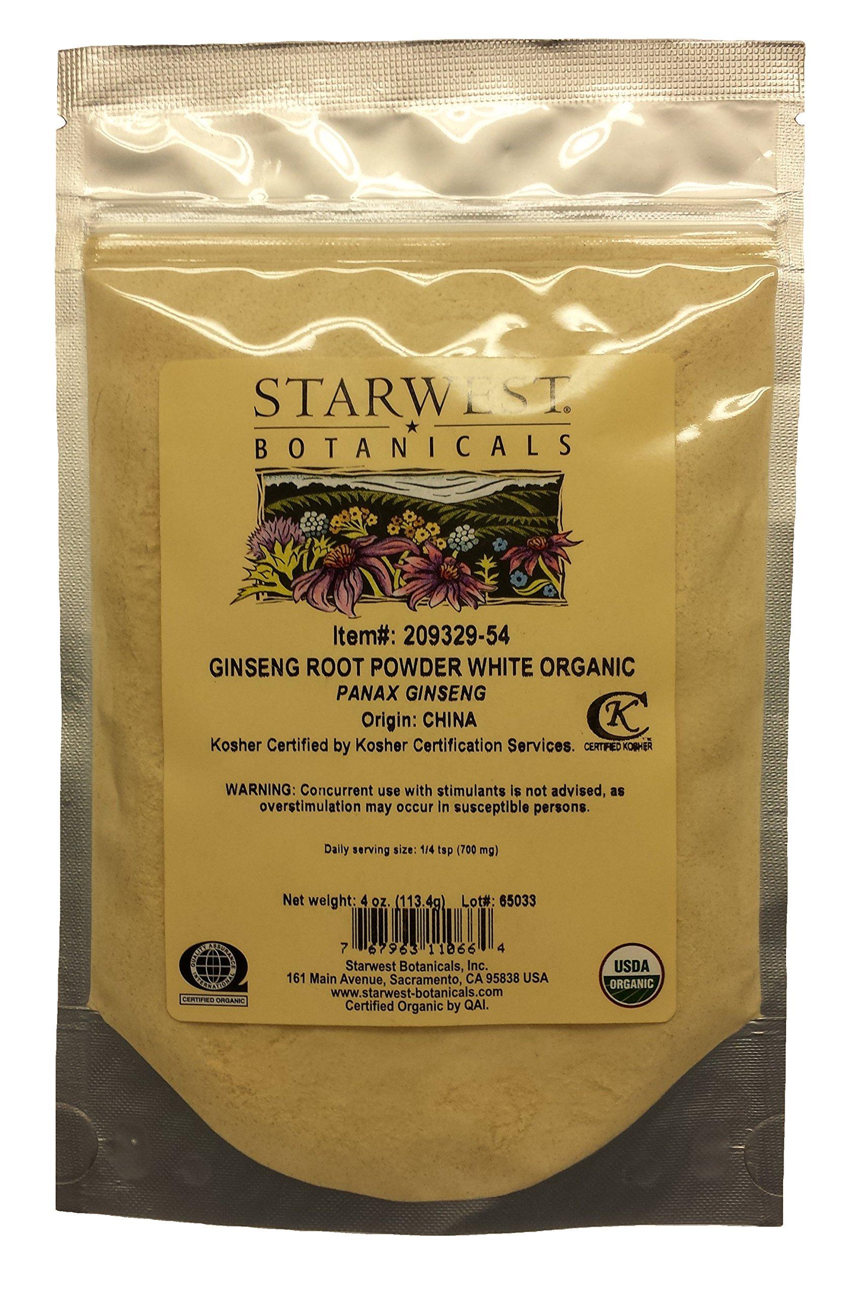 Ginseng Root Powder White Organic - Panax Ginseng, 4 Oz,(Starwest Botanicals)