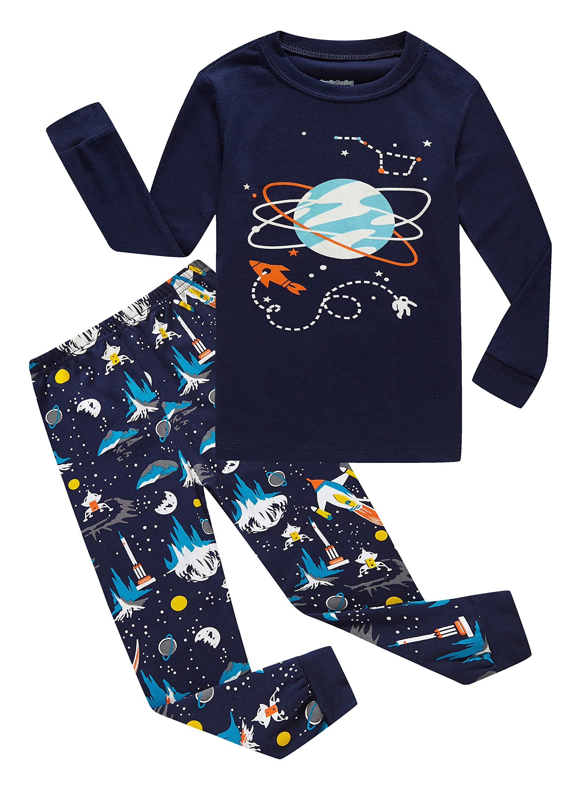 Family Feeling Space Big Boys Long Sleeve Pajamas Sets 100% Cotton Pyjamas Kids Pjs Size 14 Blue