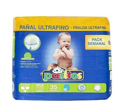 Pasitos - Pañales para bebés - Talla 3, 4-10 kg - 35 unidades