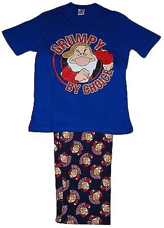 select for genuine great variety models reputable site Mens Pyjamas PJs Set Short Sleeved Top Lounge Pants Disney Grumpy Small to  X Large