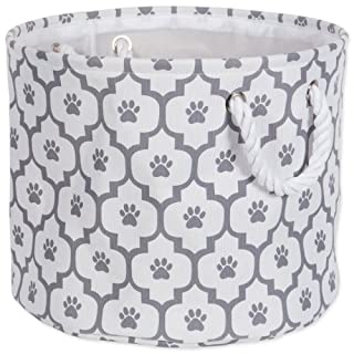 """DII Bone Dry Medium Round Pet Toy and Accessory Storage Bin, 15 x 12""""(H), Collapsible Organizer Storage Basket for Home Décor, Pet Toy, Blankets, Leashes and Food-Gray Lattice Paw Print"""