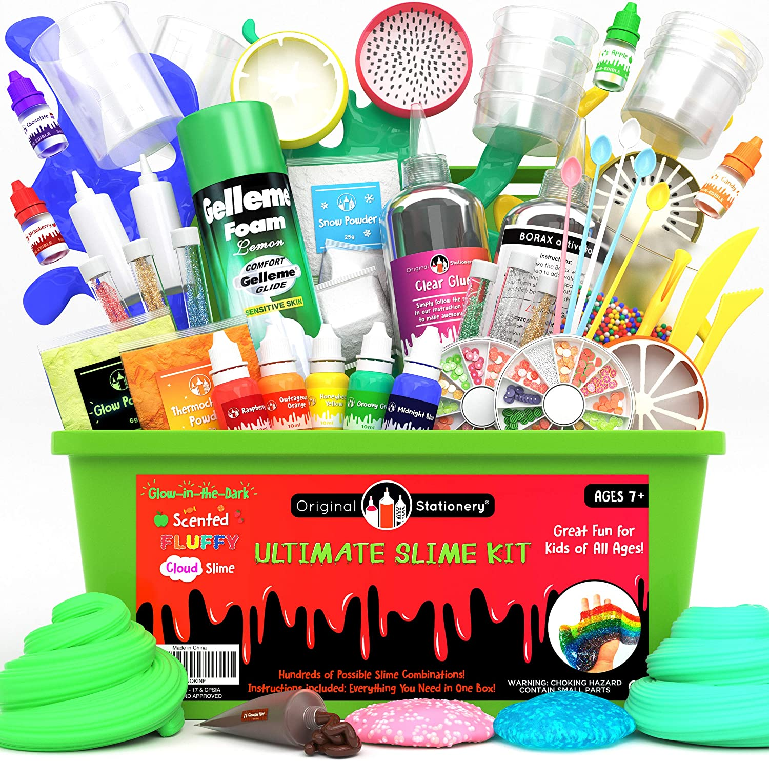 Original Stationery Ultimate Slime Kit: DIY Slime Making Kit with Slime Add Ins Stuff for Unicorn, Glitter, Cloud, Butter, Floam, More - Deluxe Slime Kits Gift for Girls and Boys (Green, 53pcs)