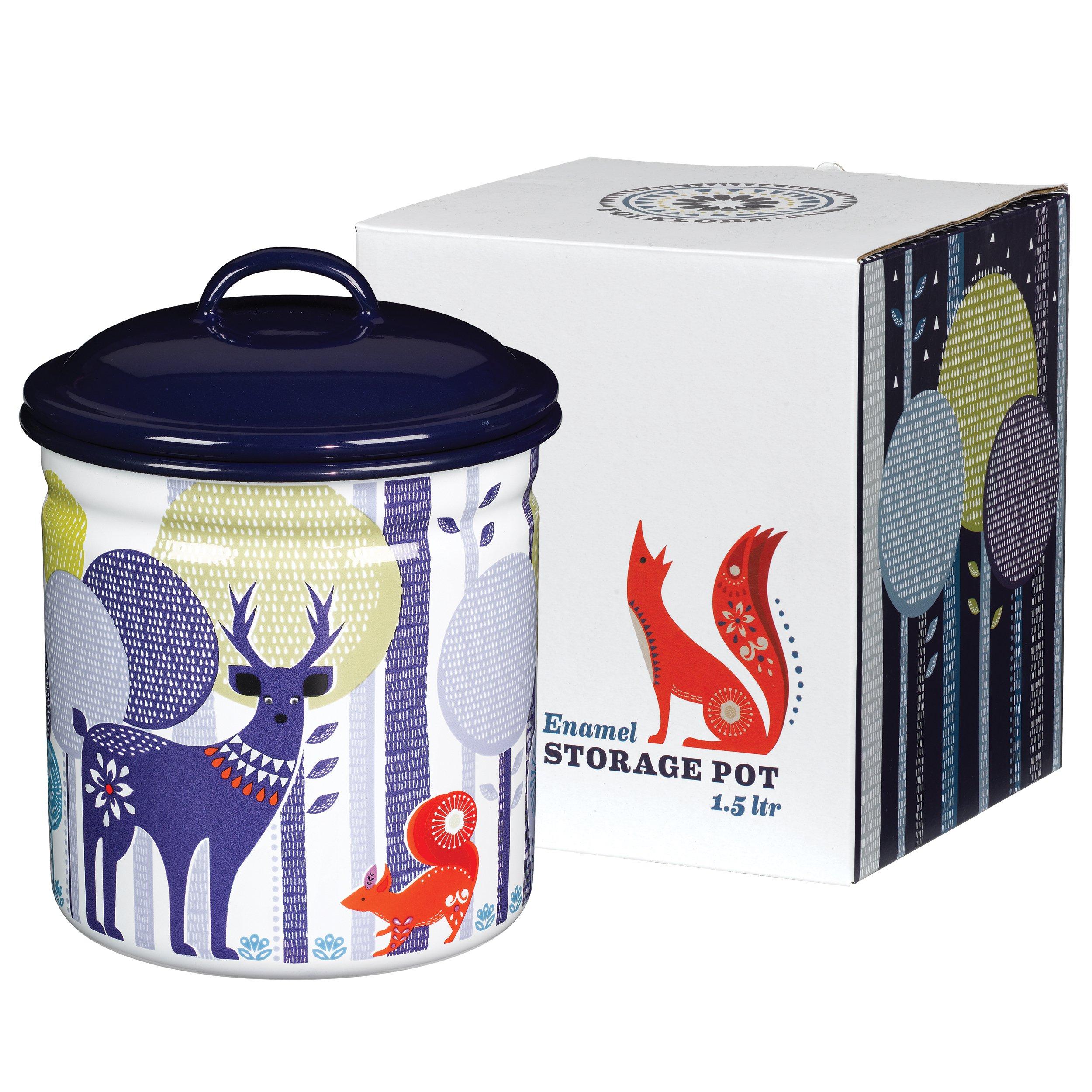 Folklore Enamel Storage Pot, Day Design, White