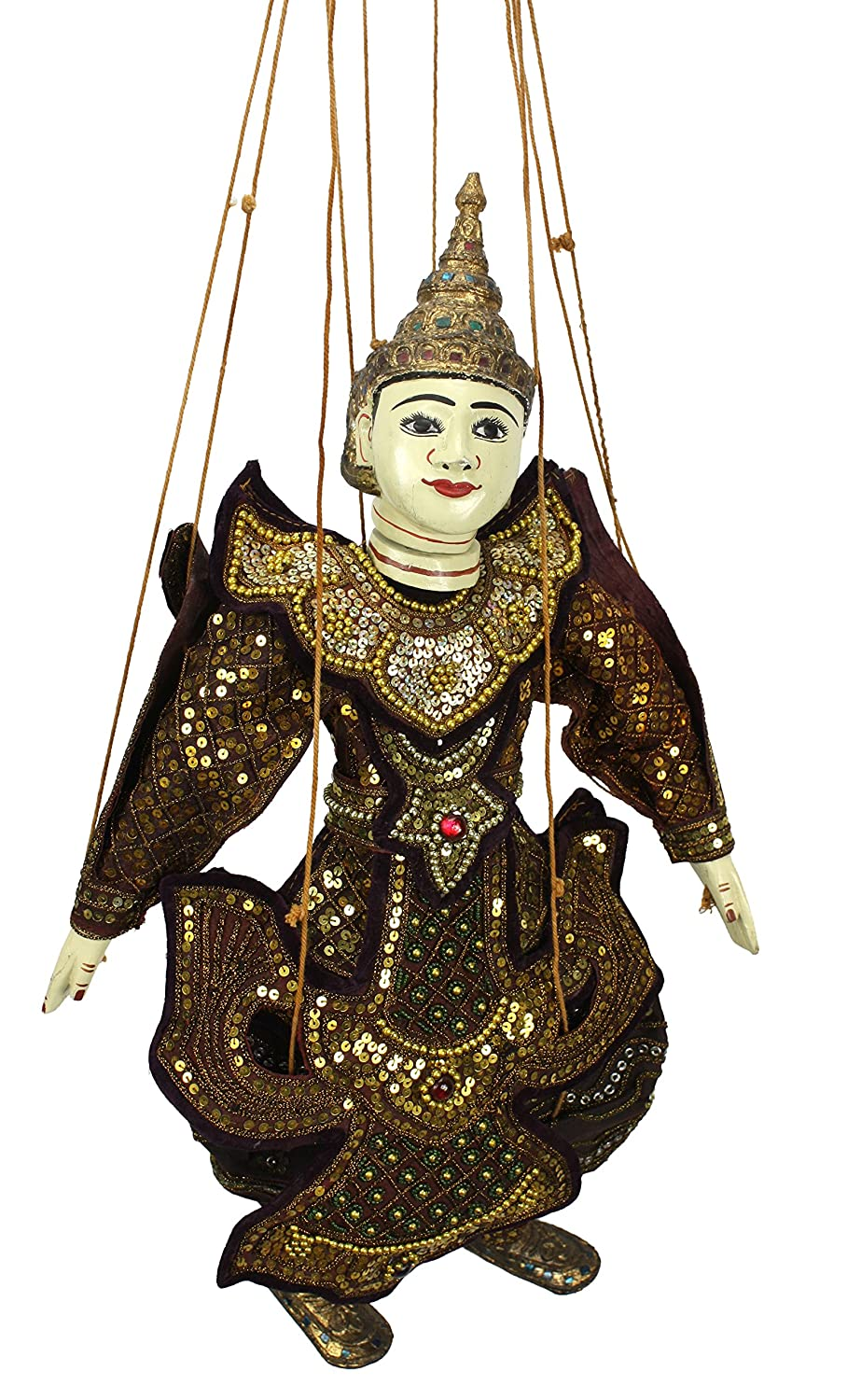 Traditional Style Burmese String Puppet Marionette: Minthar - the Prince Farang Animals