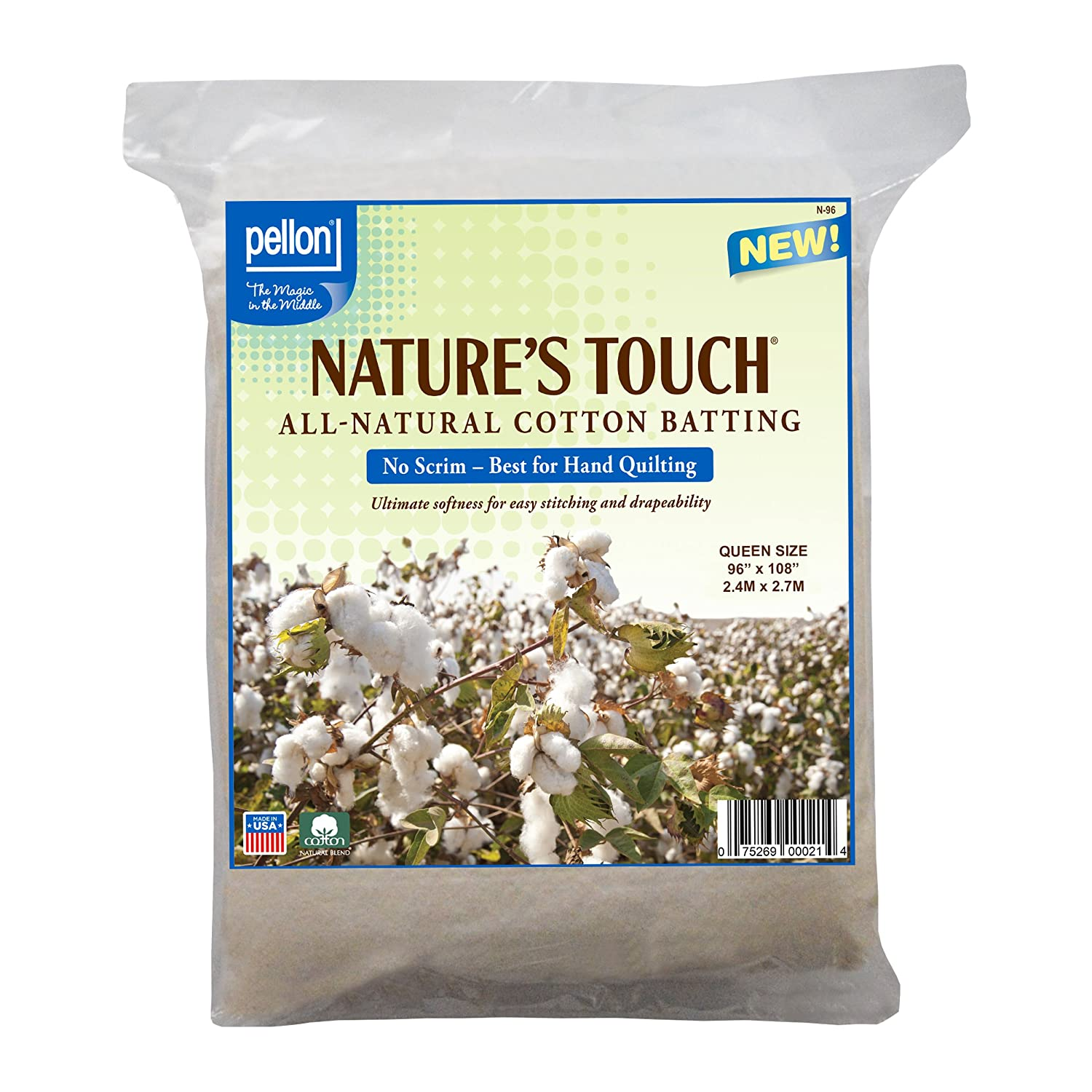 Pellon® Nature's Touch® 100% Natural Cotton Batting, No Scrim - Queen 96 X 108 N-96