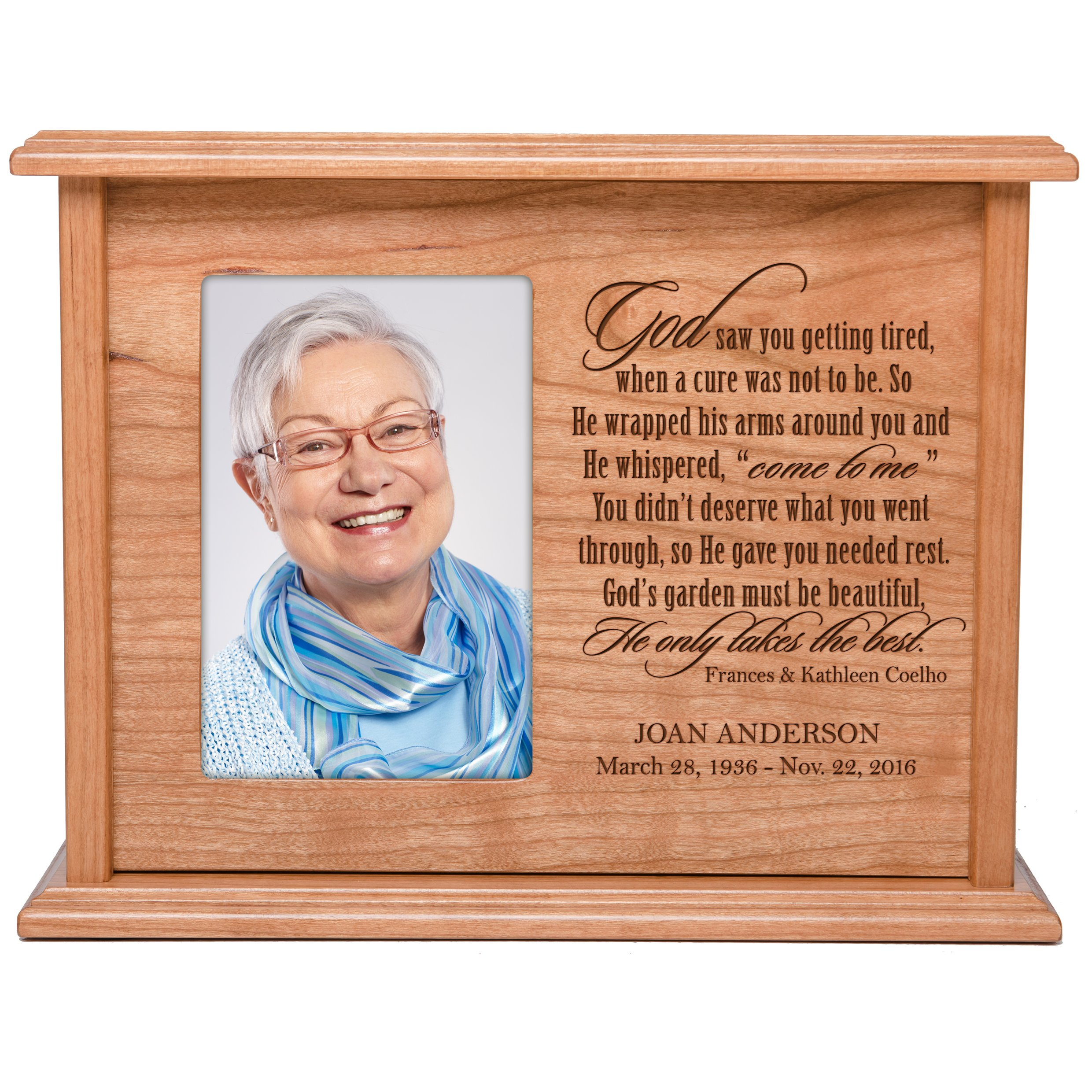 Cremation Urns for Human Ashes Memorial Keepsake box for cremains, personalized Urn for adults and children ashes God saw you getting tired SMALL portion of ashes holds 4x6 photo holds
