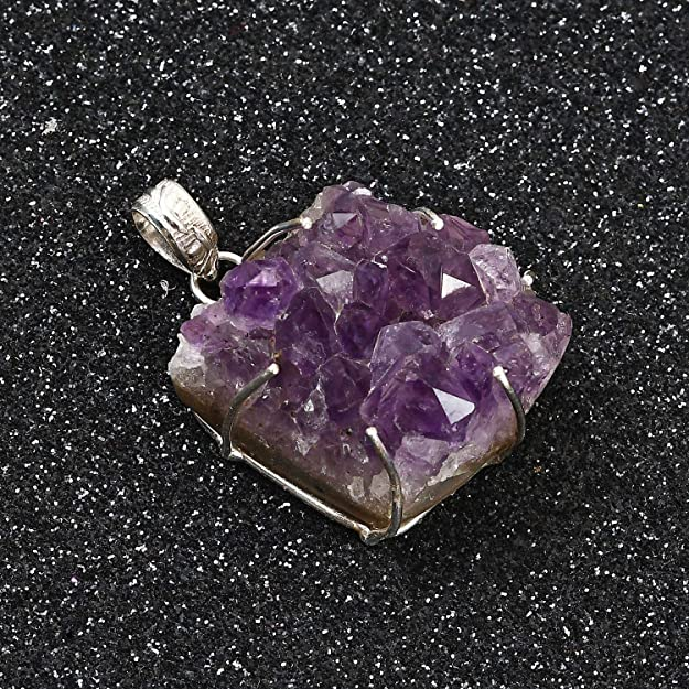 Gift For Mom Gift For Her Amethyst Druzy On Oxidised Sterling Silver