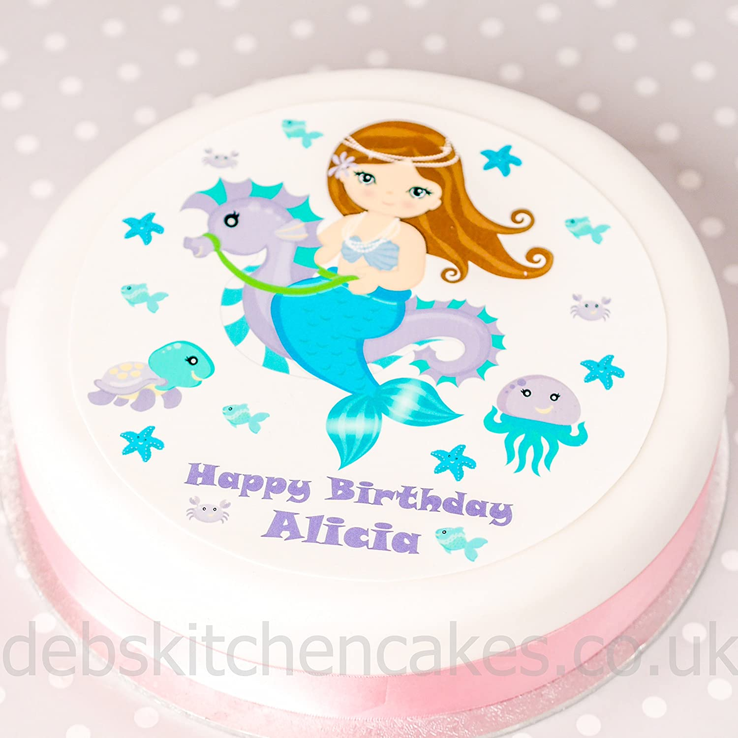 Mermaid Edible Wafer Cake Image Cake Topper Birthday Party Cake Decoration