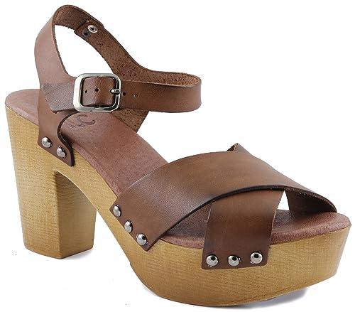 35e40d4803 iLC 283013 - Sandalias de Vestir de Piel Para Mujer Marrón Coñac ...