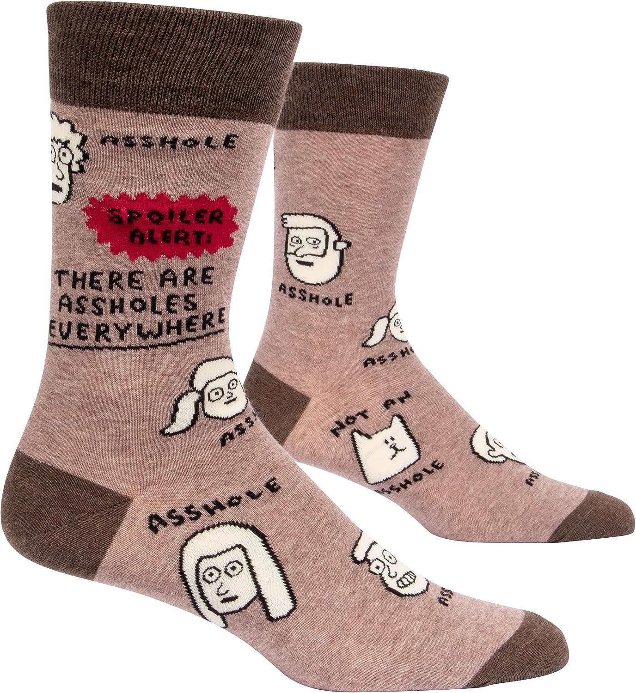 Blue Q Socks - Men's Crew - Spoiler Alert There Are Assholes Everywhere, Brown, Men's shoe size 7-12