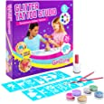 GirlZone Temporary Glitter Tattoos Kit for Girls, 33 Pieces, Arts & Crafts for Girls, Great Gifts For Girls