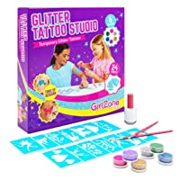 GirlZone: Temporary Glitter Tattoos Kit for Girls, 33 Pieces, Arts & Crafts for...